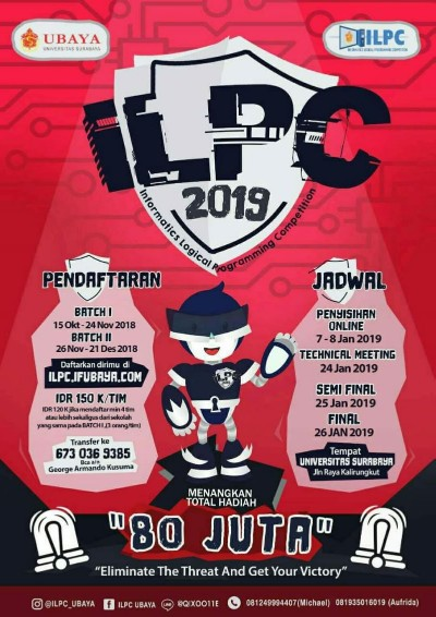 ILPC 2019 UBAYA (Informatics Logical Programming Competition)